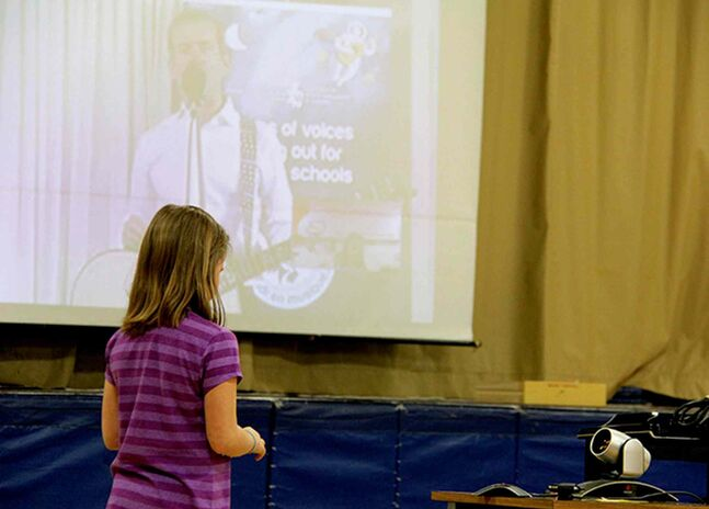 Mackenzie Sample asked Cmdr. Chris Hadfield if it was hard to learn to walk again after being in space during École Dieppe's Skype chat with the astronaut.