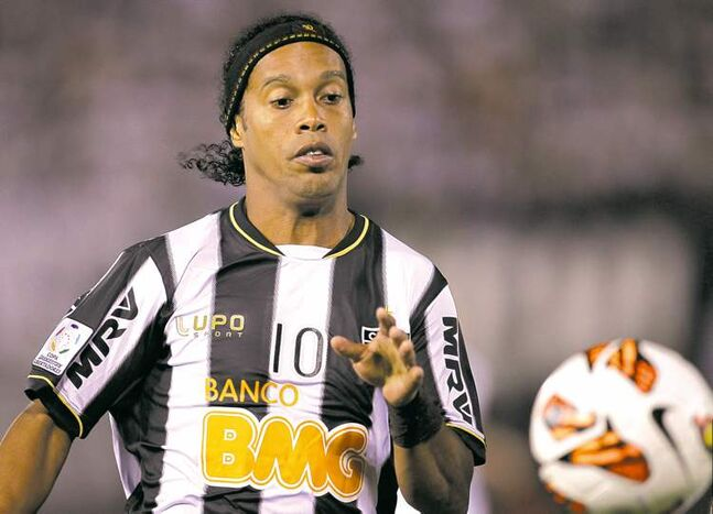 Atletico Mineiro's Ronaldinho plays in the Copa Libertadores final last month in Asuncion, Paraguay.  Atletico won it.