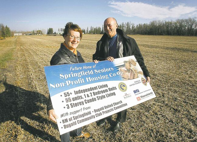Project spokeswoman Lesley Thomson and Springfield Reeve Jim McCarthy at the future site of Dugald Estates.