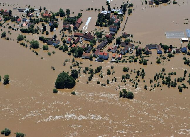 The Gohlis suburb of Dresden, Germany, is completely flooded.