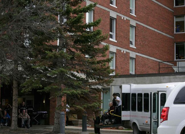 Residents of Golden West Centennial Lodge nursing home were evacuated Monday morning after a water-main break. Winnipeg paramedics and Manitoba stretcher service helped move the 113 residents to West Park Manor and other facilities.