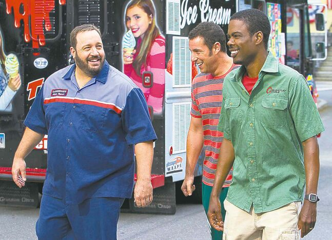 Grown Ups 2, featuring Kevin James (left), Adam Sandler and Chris Rock, leads Razzie nominations with eight.