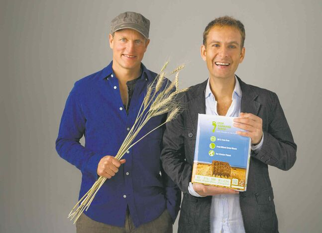 Woody Harrelson (left) and Jeff Golfman, partners in the Winnipeg company Prairie Pulp & Paper Inc.