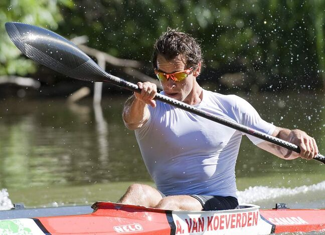 Canadian Olympic kayaker Adam van Koeverden trains at the Burloak Canoe Club in Oakville, Ont. on Wednesday, June 13, 2012.
