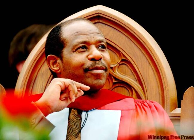 Paul Rusesabagina smiles after receiving an honorary degree from the University of Guelph on Tuesday, June 12, 2007. Rusesabagina, the former manager at the Mille Collines hotel, saved more than 1,200 people from slaughter during the Rwandan genocide and inspired the Academy Award-nominated film