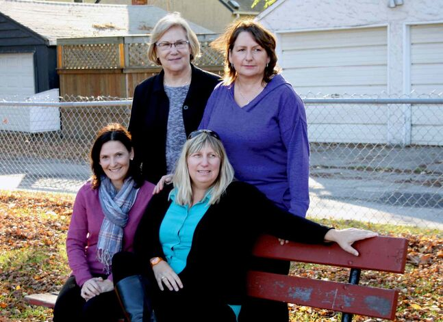 From top-right, clockwise: Sharon Gurney, Kathleen Reid, and Jennifer Moncrieff — the founders of the Dyslexia Champions of Manitoba — with reading clinician Christine van de Vijsel.