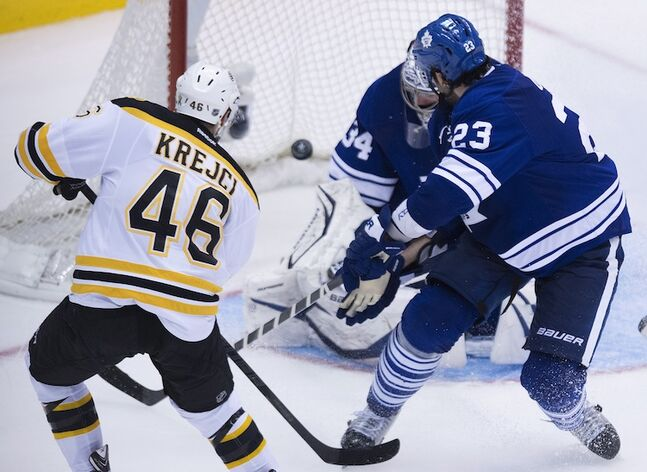 Boston Bruins forward David Krejci scores the game-winning goal on Toronto Maple Leafs goalie James Reimer during overtime in Toronto Wednesday night.