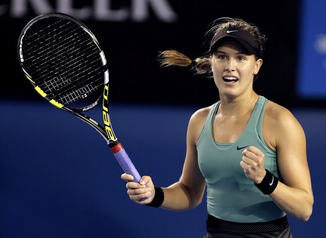 Eugenie Bouchard celebrates in Melbourne on Sunday, Jan. 19, 2014. THE CANADIAN PRESS/AP, Rick Rycroft