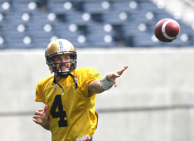 QB Buck Pierce takes part in practice this morning at Investors Group Field.