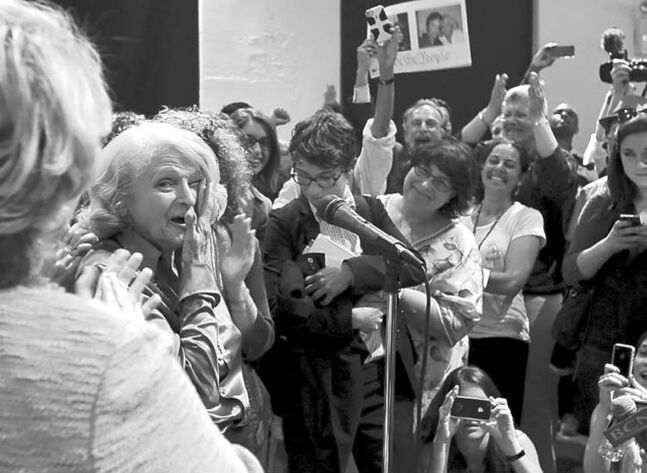 An ecstatic Edith Windsor addresses supporters at the LGBT Center, in New York, after the Supreme Court ruling Wednesday.