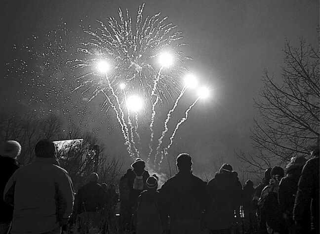 A New Year's Eve fireworks display at The Forks.