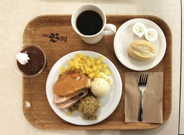 A classic turkey dinner on one of the Paddlewheel Restaurant's trays.