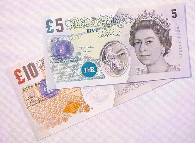 The Bank of England showed samples of polymer pound notes Wednesday.