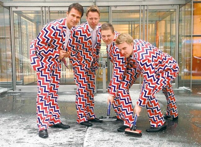 Cassie Kovacevich / the associated press / Loudmouth GolfNorwegian curlers Thomas Ulsrud, Torgor Nergard, Christoffer Svae and Havard Vad Petersson (from left) model their new Sochi suits by Loudmouth.