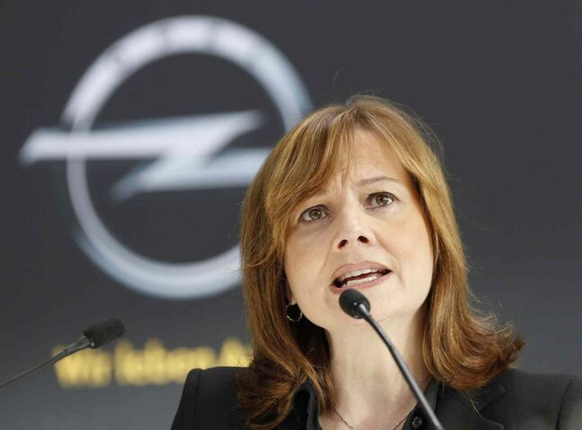 New CEO of General Motors Mary Barra speaks during a press conference at the Opel car factory in Ruesselsheim, Germany, Monday, Jan. 27, 2014. Barra is the first woman to head a major automaker.