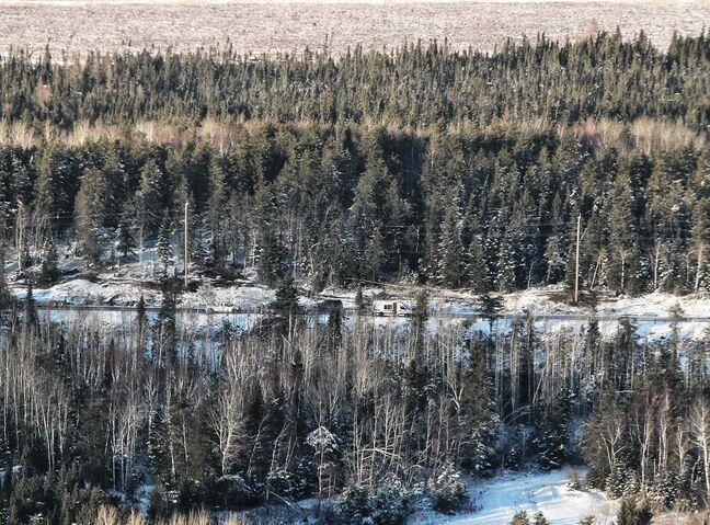 The scene of the plane crash near Red Lake, Ontario. A Bearskin Airline plane crashed just before landing killing five while two others survived.