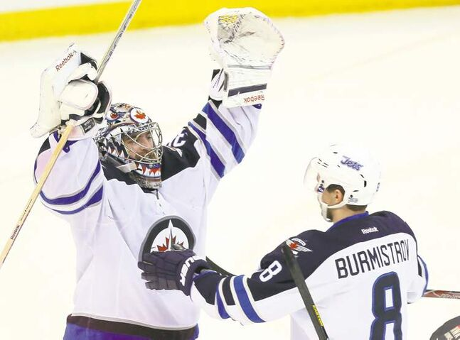 Jets goalie Al Montoya was all smiles after his third career shutout against Ottawa on Feb. 9th.