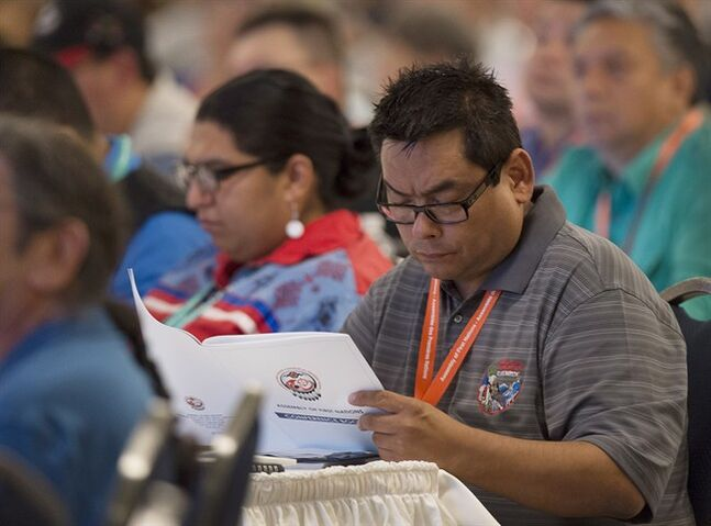 Delegates listen to proposals dealing with the election of a national chief as native leaders from across Canada attend the Assembly of First Nations' 35th annual general meeting in Halifax on Tuesday, July 15, 2014. THE CANADIAN PRESS/Andrew Vaughan