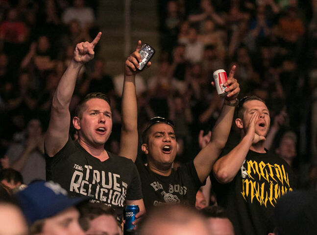 UFC fans cheer for Roland Delorme after he won in a unanimous decision.