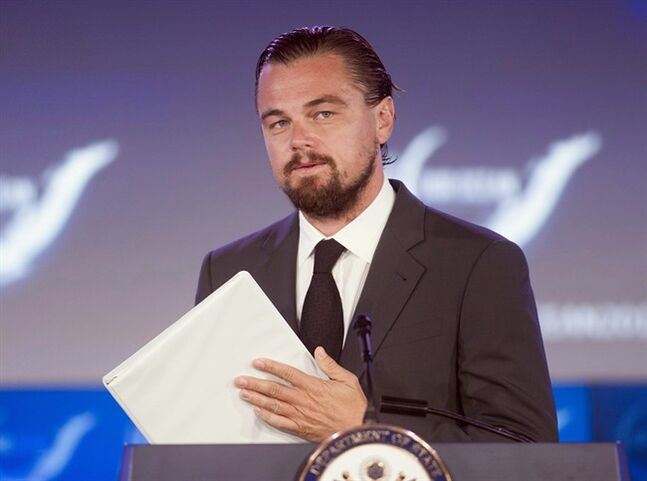 Actor Leonardo DiCaprio speaks at the second day of the State Department's 'Our Ocean' conference at the State Department in Washington, Tuesday, June 17, 2014. Actor Leonardo DiCaprio has nominated Prime Minister Stephen Harper to do the ice bucket challenge. THE CANADIAN PRESS/ AP, Cliff Owen