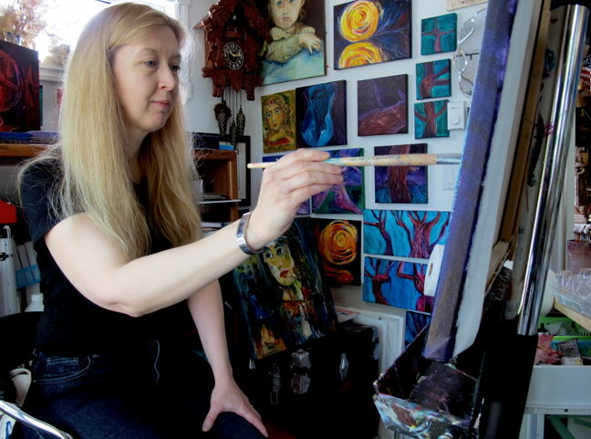 Ingra Skuja-Grislis in her home studio. She is busy now editing what pieces will appear in her June 6-18 show at the Cre8ery Gallery and Studio.