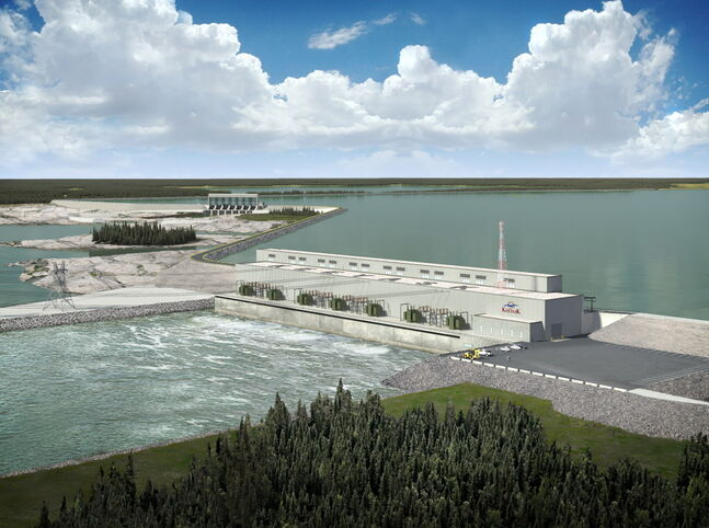 An artist's rendering of the Keeyask dam. The Bipole III Coalition is calling on  Manitoba Hydro to halt its $34-billion expansion plans, including building the dam and Bipole III.