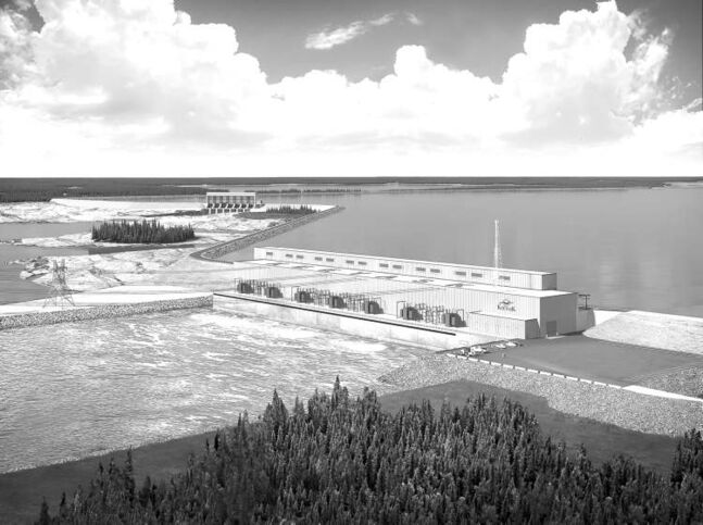 A 2011 artist rendering of the Keeyask dam hydro-generating station.