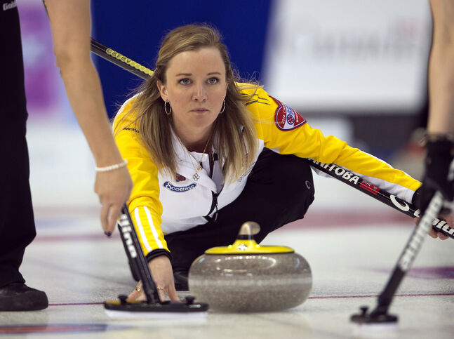 Manitoba skip Chelsea Carey takes a shot during her match against Newfoundland at the Scotties Tournament of Hearts this morning in Montreal.
