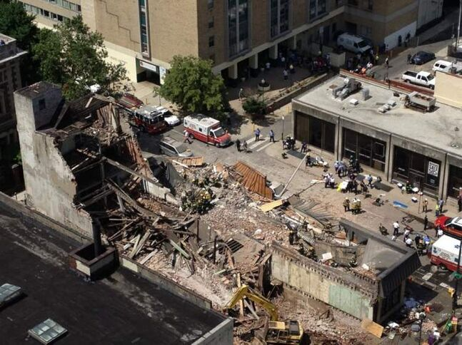 The building collapsed at 22nd and Market streets in Philadelphia.