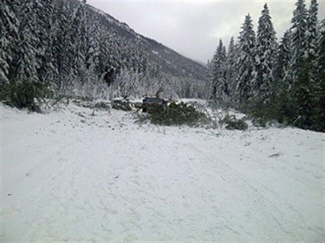 No vehicles were caught under a large avalanche that rolled over Highway 16 and blocked off traffic on Monday, Jan. 13, 2014 near Mount Robson on the Alberta-B.C.. boundary, said RCMP.The 400-metre-wide slide of snow and debris came down at about 9:30 in the morning. THE CANADIAN PRESS/ho-RCMP