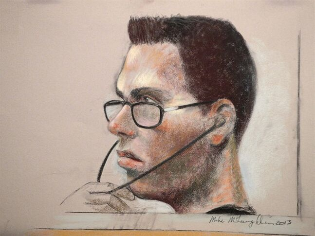 Luka Magnotta is shown in an artist's sketch in a Montreal court on March 13, 2013.The family of the man allegedly murdered by Luka Rocco Magnotta is asking for certain exhibits it says are obscene to remain under wraps permanently. THE CANADIAN PRESS/Mike McLaughlin