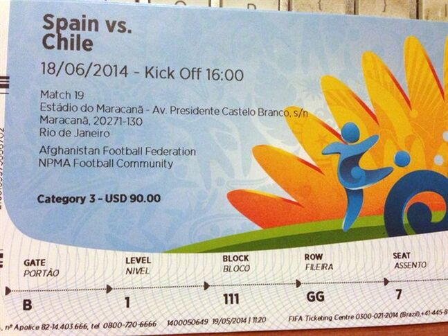 A $90 U.S. dollar FIFA ticket for the Spain vs. Chile World Cup game, bought for for $775 U.S. dollars by a fan on Stubhub.com, is pictured June 4, 2014 in San Juan, Puerto Rico. THE CANADIAN PRESS/AP