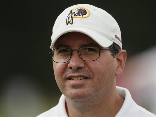FILE - In this Aug. 3, 2010, file photo, Washington Redskins owner Dan Snyder attends a workout at the NFL football team's training camp in Ashburn, Va. The campaign to ditch