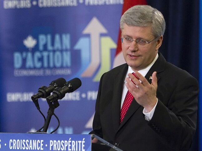 Prime Minister Stephen Harper speaks during an announcement on Friday, May 3, 2013 in Quebec City. THE CANADIAN PRESS/Clement Allard