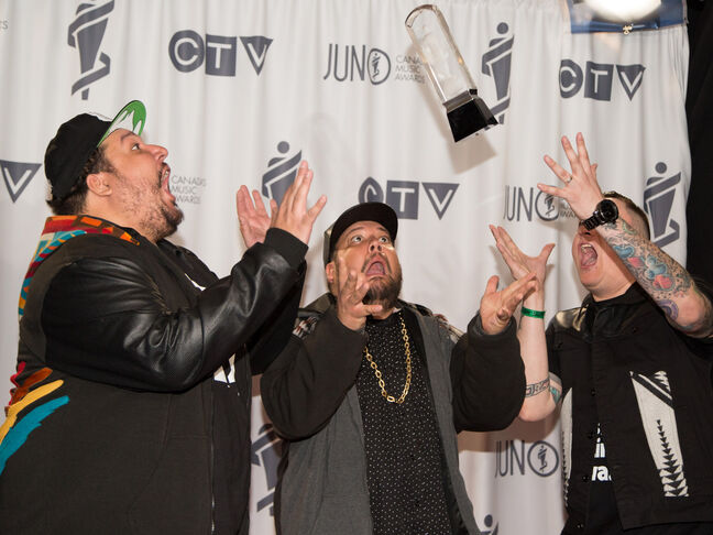 A Tribe Called Red receives the 2014 JUNO for Breakthrough Group of the Year.