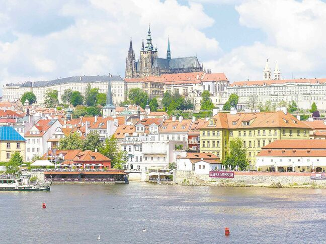 Looking back at the Prague Castle from the Charles Bridge in Prague.