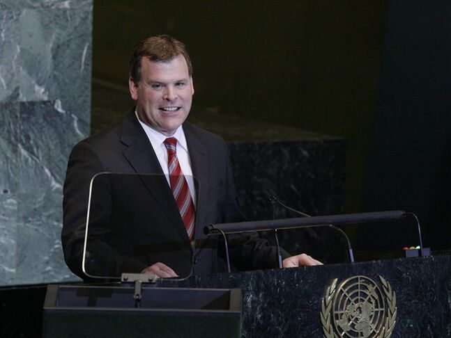 John Baird, Foreign Minister of Canada addresses the General Assembly during the 66th U.N. General Assembly at UN Headquarters Monday, Sept. 26, 2011. (AP Photo/David Karp)