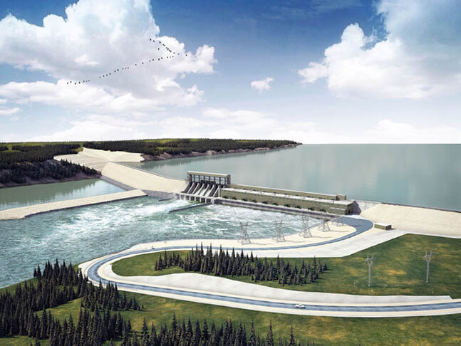 An artist rendering of the Conawapa dam.