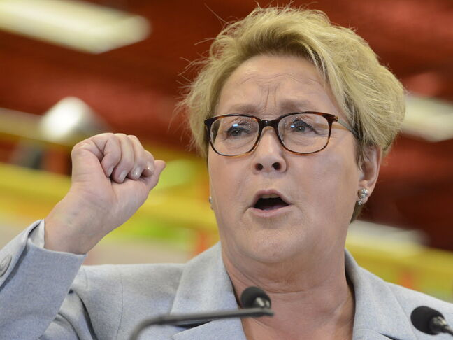 Parti Quebecois Leader Pauline Marois speaks during a campaign stop in Blainville, Que., on Tuesday, March 25, 2014.