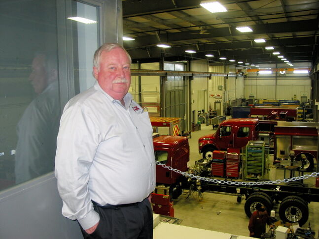 Fort Garry Fire Trucks president Rick Suché relocated his business to a new 50,000-square-foor building in Brookside Industrial Park West, but the site at 53 Bergen Cutoff Rd. doesn't have water or sewer service.