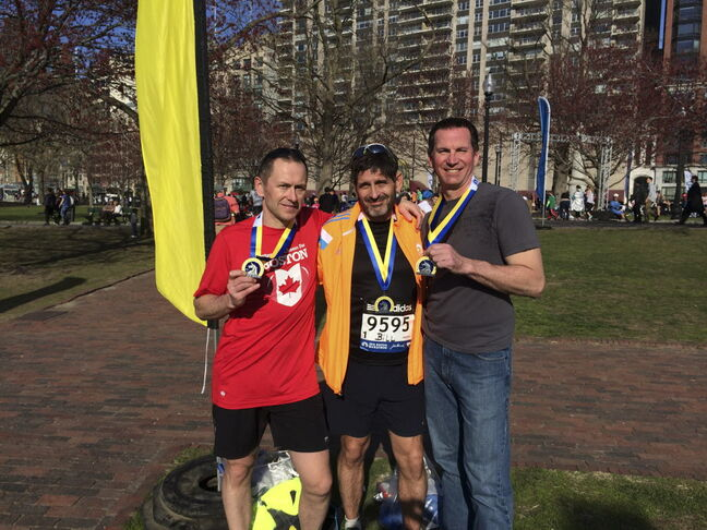 Kevin Donnelly, Bill Diehl-Jones and Tim Turner were among 50 Manitobans running in this year's marathon.