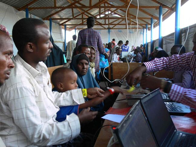 The UNHCR uses biometric imaging to register new refugees at Ifo 2 camp in Dadaab. The electronic system ensures the identity of the refugees, and has seen the number of refugees receiving services in Dadaab reduced from more than 400,000 to just over 357,000.