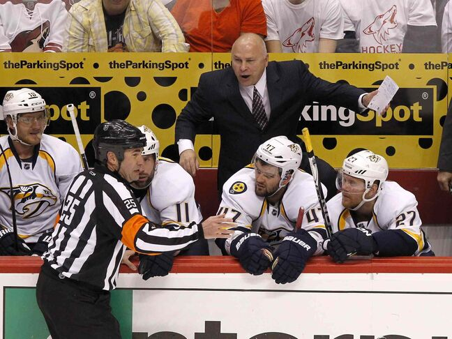 Nashville Predators head coach Barry Trotz (top).