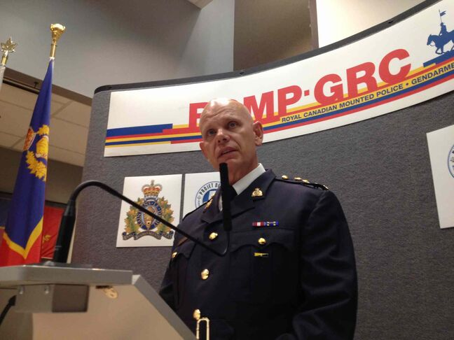RCMP chief superintendent Scott Kolody announces Traigo Andretti, 38, has been charged with second-degree murder in the death of of Myrna Letandre.