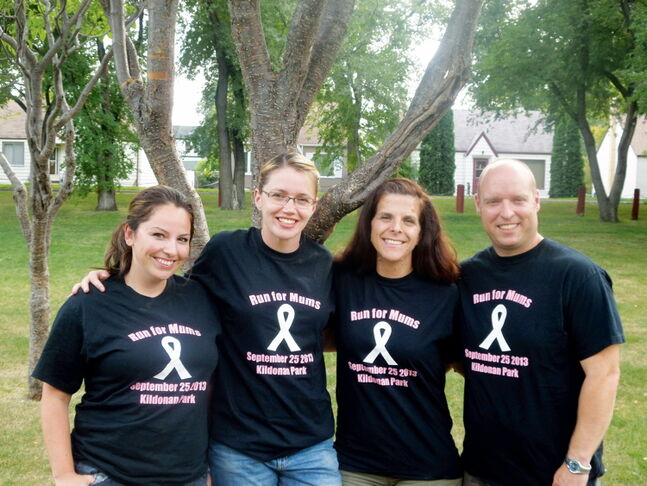 Jenn Wittick (left), Ashley Tully and Brenda and Eddie Marion-Gerula are organizing the Run for Mums Family Walk/Run on Sept. 25 in Kildonan Park to support postpartum depression education and awareness.
