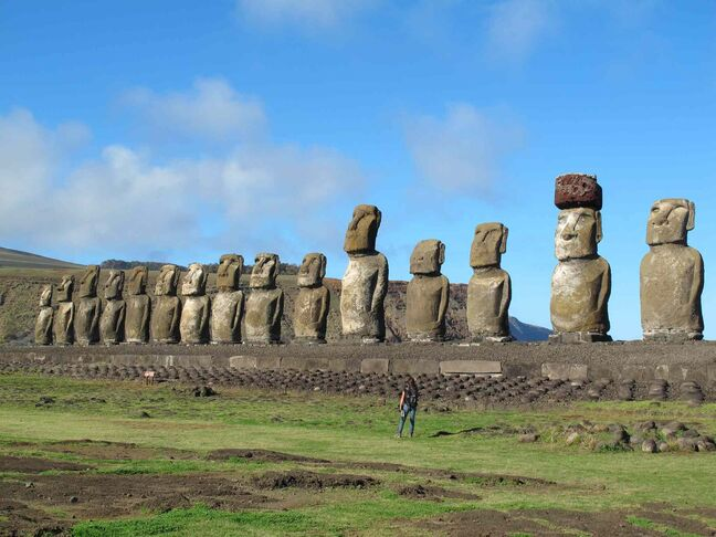 Fifteen moai standing watch at Tongariki on Easter Island.  Free Press writer Lucas Akroyd won bronze in the General Travel Articles group for his article on 'wild, weird Easter Island'