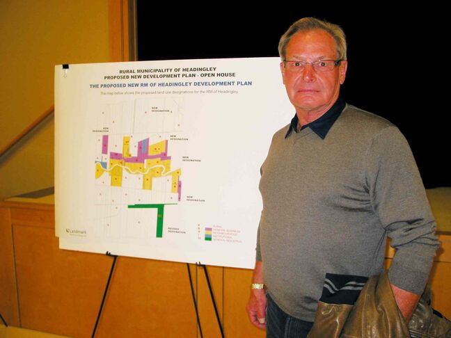 Headingley mayor Wilf Taillieu spoke to local residents attending an open house on Oct. 29 to view the proposed new municipal development plan.