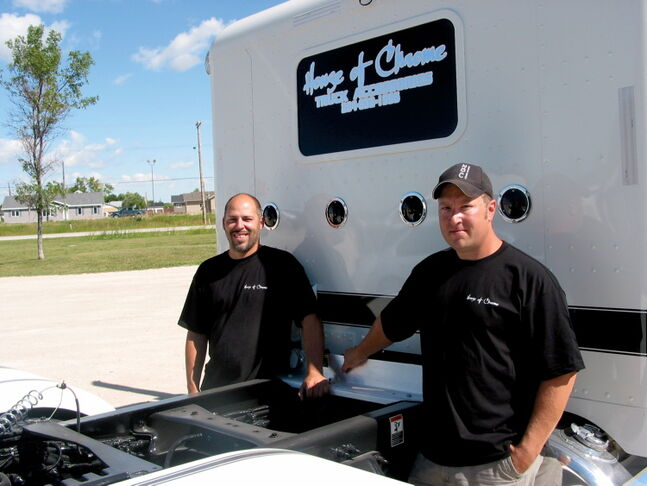 House of Chrome owners James Lee (left) and Russell Dovzuk sell truck accessories at their Headingley business.