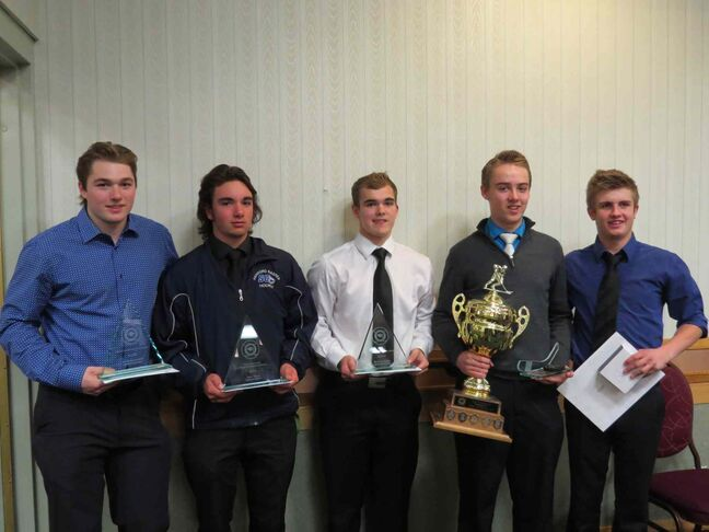 Sanford Sabres hockey players (left) Bronson Ammeter, Steve Young,  Mark Livingston, Fraser Mirrlees and Chase Kendall received awards from the Winnipeg High School Hockey League on April 17.