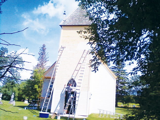 The priming and painting of St. Anne's Anglican Church was underway during the week of July 22 in preparation for the church's annual anniversary service on Aug. 11.